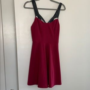 Maroon/Purple Mini Dress with Faux Leather Straps